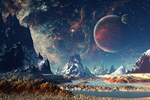 Mountains Stars Space Planets Digital Art Artwork 4k