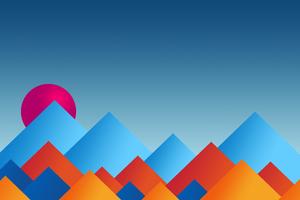 Mountains Sun Minimal Abstract 8k Wallpaper