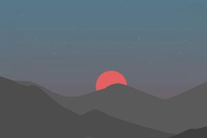Mountains Sunset Minimal 4k Wallpaper
