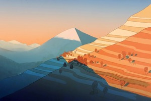 Mountains Sunset Near Time Illustration 5k Wallpaper
