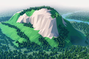 Mountains Trees Forest 3d Minimalism Wallpaper