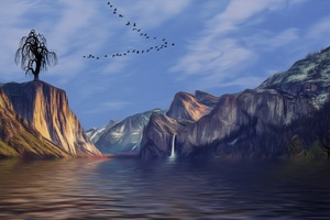 Mountains Valley Landscape Artistic Birds Flying
