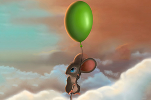 Mouse Balloon Flying 5k Wallpaper