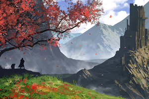Moutains Castle Witcher Wallpaper