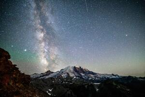 Mt Rainier Under The Nights Sky 5k Wallpaper