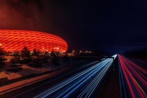 Munich Football Stadium At Night Wallpaper
