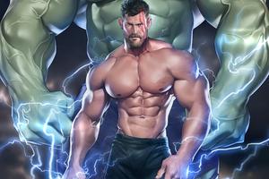 Muscular Thor 5k Wallpaper