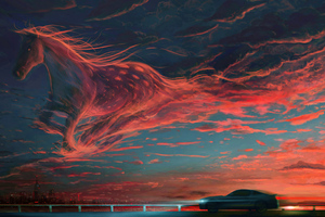 Mustang Horse Clouds 4k Wallpaper