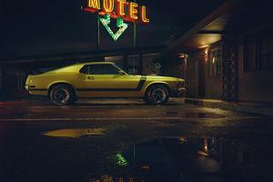 Mustang Outside Motel