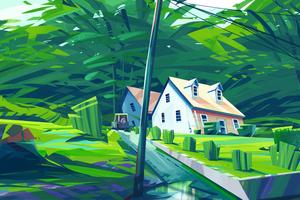 My Town Illustration 4k Wallpaper