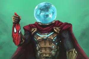 Mysterio Hand On Spiderman Mask Wallpaper