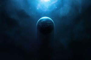 Nebula Halo Planet Digital Space Art Wallpaper