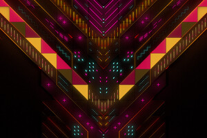Neon Abstract Geometry Digital Art