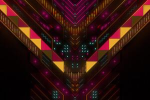 Neon Abstract Geometry Digital Art