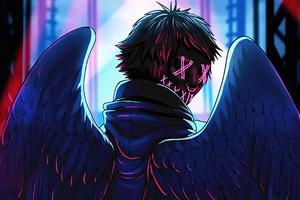Neon Angel Boy 4k Wallpaper