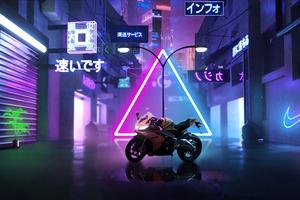 Neon Bike In Center Of Street 5k