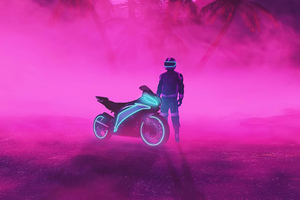 Neon Biker Boy 4k Wallpaper