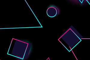 Neon Circles And Triangle 4k Wallpaper