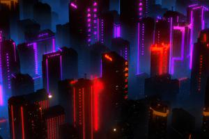 Neon City Buildings 4k Wallpaper