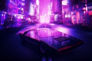 Neon City Car 4k Wallpaper