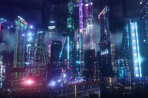 Neon City Lights 4k