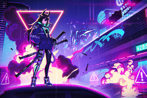 Neon Cyber City Cat Girl 4k