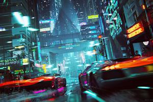 Neon Cyberpunk City Car Racing 4k