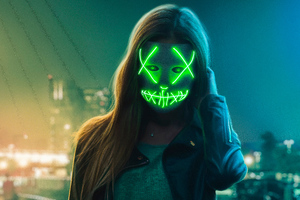 Neon Eye Mask Girl Wallpaper