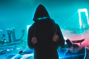 Neon Eyes Hoodie Guy With Sport Car Wallpaper