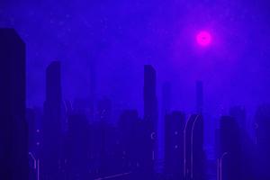 Neon Glow Skyscrapers 4k