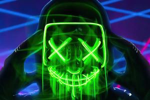 Neon Green Mask Triangle Guy 4k
