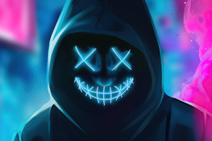 Neon Guy Mask Smiling 4k Wallpaper