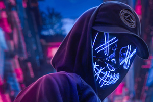 Neon Hoodie Hat Guy 4k Wallpaper