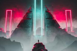 Neon Light Science Fiction 4k