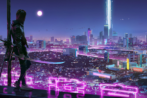 Neon Lights Cyber Ninja Boy 4k