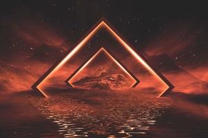 Neon Lights Orange Mountains 5k Wallpaper