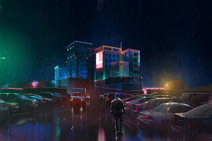 Neon Man Walking In Rain 4k