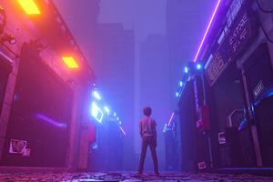 Neon Market Closed Little Boy Standing 4k