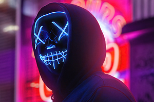 Neon Mask Boy City 4k