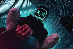 Neon Mask Boy Sitting On Top 4k