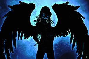 Neon Mask Girl Wings 4k