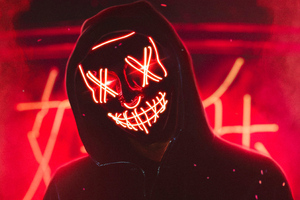 Neon Mask Guy 4k Wallpaper