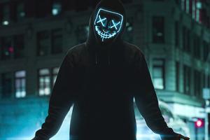 Neon Mask Guy Street 4k
