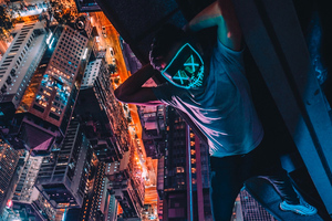 Neon Mask Guy Upside Down