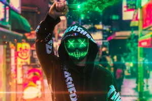Neon Mask Guy With Green Smoke Wallpaper