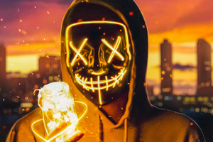 Neon Mask Guy With Light Cube