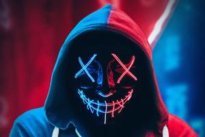 Neon Mask Hoodie 4k Wallpaper