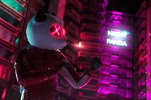 Neon Panda Ready For Night 5k Wallpaper