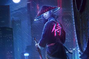 Neon Samurai Girl 4k Wallpaper