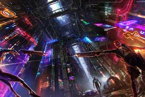 Neon Science Fiction Cyberpunk Guy 4k